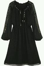 ALTUZARRA DRESS Size US14 UK 18 Chiffon Black Sequin Embroidered Swiss Dot