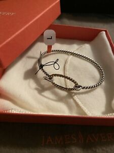 James Avery NIB Changeable Twisted Wire Silver Bronze Charm Bracelet Size Large