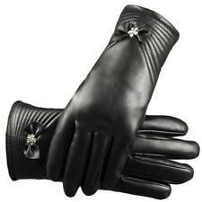 Women Winter Leather Motorcycle Full Finger Touch Screen Warm Gloves Mitten Bow