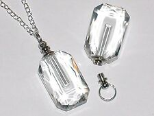 1 Clear Glass pendant cremation urn ashes perfume bottle Necklace pendant