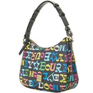 Aunth Dooney & Bourke Doodle Coated Cotton Small Kiley Hobo Shoulder Bag NWT