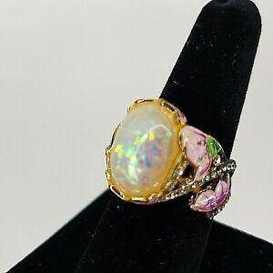 Faux Opal Enamel Pink Flower Ring Costume Jewelry Gold Tone Size 7.5 Retro
