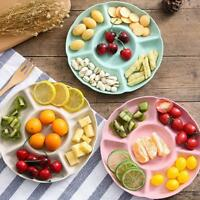 Plastics Multifunction Fruit Plate Dessert Tray Plate Snack Dish 5Compartme G0S7