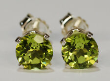 BRILLIANT!  GENUINE NATURAL MINED GREEN PERIDOT EARRINGS~STERLING SILVER~6MM