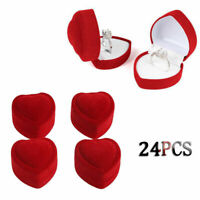 24Pcs New Red Velvet Ring Display Case Heart-shaped Earring Jewelry Box Gift
