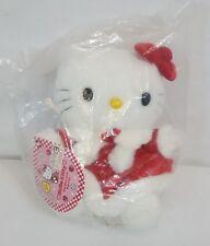 "Vintage 1999 Sanrio HELLO KITTY Red Christmas Dress 7"" Mascot Plush Doll NEW"