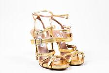 Tabitha Simmons Gold Lizard Embossed Leather Rhinestone Buckle Sandals SZ 38.5