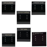 10 Black Velveteen 2 inch Square Earring Display Cards w/Hanging Tab for 3 Pairs