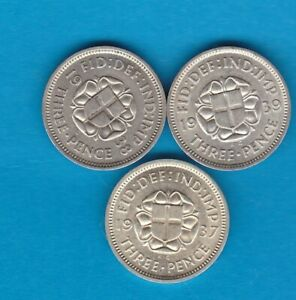 THREE 1937/1938 & 1939 SILVER THREE PENCE COINS IN EXTREMELY FINE CONDITION