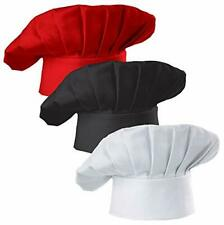 Set of 3 Pack Adult Chef Hat Adult Adjustable Elastic Baker Kitchen Cooking Chef