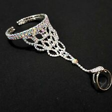 Slave Bracelet with Ring Bangle Hand Chain Bridal Jewelry Rhinestone Weddings