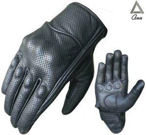 Motorrad Handschuhe Sommer Schwarz Leder MotorradHandschuhe Motorbike Gloves