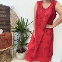 Vintage 90's Y2K Red Sleeveless Layered Summer Dress Flower Pattern Sz 18 20
