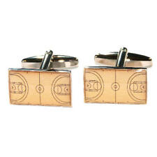 Black Lined Basketball Court Cufflinks With Gift Pouch Basket Ball Net Present