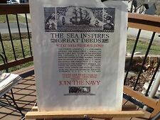 "PRINT OF WWII NAVY RECRUITMENT POSTER NAMED ""THE SEA INSPIRES GREAT DEEDS"""