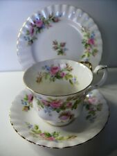 ROYAL ALBERT MOSS ROSE TRIO CUP SAUCER PLATE SET BONE CHINA