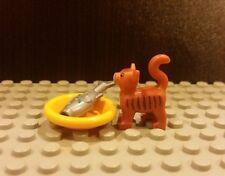 Lego NEW Friends Dark Orange Cat Kitten Standing Pet Minifigure With Food Dish