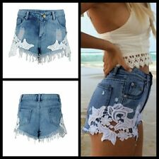 Summer Blue Lace Jeans Frayed Edges Denim Shorts Zipper Mid-Waist Floral Pants
