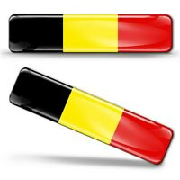 Autocollant 3D Drapeau Résine National Belgique Belge Belgium Flag Sticker Decal