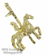 Knight on Horse Charm Medieval Pendant EP Gold Plated with a Lifetime Guarantee!
