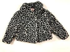 Gymboree Girls 5 6 Small Tres Fabulour Gray Leopard Print Faux Fur Coat Jacket