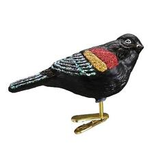 RED-WINGED BLACKBIRD CLIP ON OLD WORLD CHRISTMAS GLASS BIRD ORNAMENT NWT 18132
