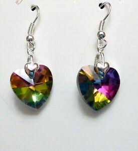 Teacher Gift Ladies Rainbow Crystal Heart Drop Earrings Silver Plated Hooks