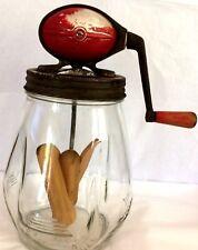 Vintage Dazey 4-Qt. BUTTER-CHURN JAR. Red Oval Metal Churn w/ Wooden Paddles.