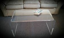 "Clear Acrylic Lucite ""Kira"" Waterfall Style Coffee Table"
