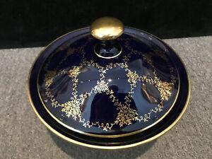 Porzellan Deckeldose Lindner echt kobalt mit Gold, Höhe 15,5 Breite 19,5 cm