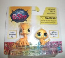 MINIATURE HASBRO LITTLEST PET SHOP LOFTY #3 & SAFFRON #4 TOY 2 PACK NIP