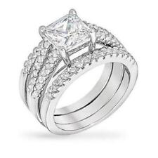 4 TCW 2.5 CT Princess CZ Solitaire Triple Band Bridal Engagement Ring Set Size 8