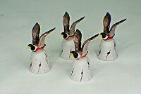 Vintage (4) Porcelain Flying Mallard Ducks Bisque Bell with Red Tulip Trim b4