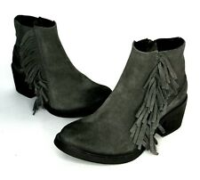 ALL SAINTS Womens 37 6 Bonny West Boots Gray Suede Leather Ankle Fringe Booties