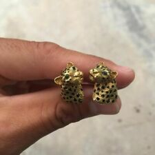 Solid 10K Yellow Gold With Round Shape Emerald Eyes Jaguar Cool Men's Cufflinks