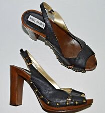 4be4ef98f203 STEVE MADDEN P-TAMI SZ 9.5 M BLACK LEATHER PLATFORM SLINGBACK SANDALS HEELS
