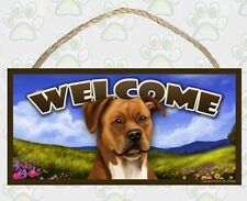 Pit Bull (tan) Spring Season Welcome Dog Sign featuring art of S Rogers