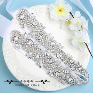 Rose Gold /Gold/ Silver Crystal Bridal Sash,Wedding Dress Sash Belt with Ribbon