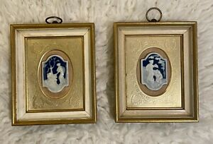 Genuine Framed Pair Limoges Cameo Made in France for Sungott Art Studios