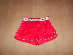 GIRLS JUSTICE RED MESH SHORTS, SIZE 12