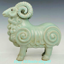 12' China Song Dynasty Ru Kiln Porcelain 12 Zodiac Mammal Sheep Goat Statue