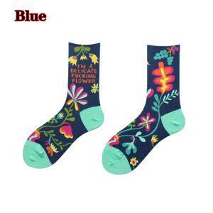 Women Funny Flowers Printed Socks Cotton Mid Tube Sock Casual Fashion Streetwear