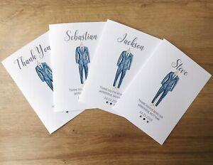 Thank you Wedding Card Usher/ Best man/ Page boy/ Groomsman. Tux - Personalised