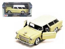 1/24 MOTORMAX 1955 Chevrolet Bel Air Nomad Diecast Model Car Yellow 73248