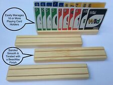 4 Playing Card Holders Solid Wood Wooden Ships Free Child Friendly Finish