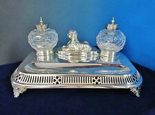 Antique Silverplate Pen & Ink Stand Sphinx English Silber & Fleming 1880s/1890s