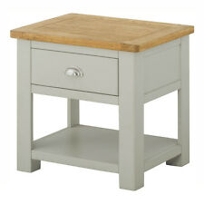 Padstow Grey Painted Lamp Table With Drawer / Solid Wood Side Table / Oak Top