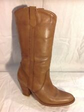 Sacha Brown Mid Calf Leather Boots Size 38