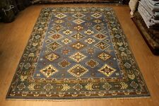 Kazak Design 9'x12' Handmade knotted Rug Natural Wool brown Colors blue #PM75