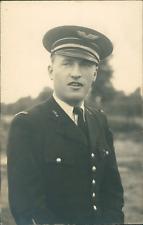 Portrait d'un officier d'aviation Vintage silver print. Photographie m